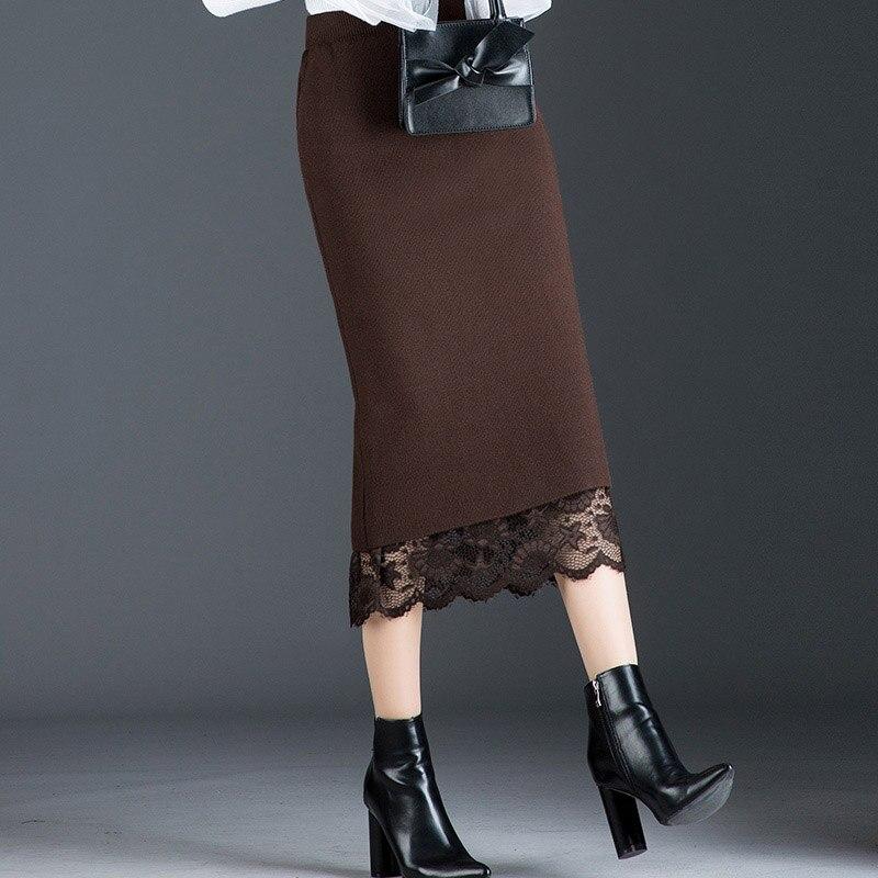 Haute qualité automne vêtements d'hiver des deux côtés jupes Slim dentelle bureau longue jupe crayon étape jupe tricoté élasticité jupe