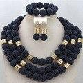 Azul marino Traje Africano Sistemas de La Joyería Joyería Declaración Chunky Beads Nigerianos Joyería de la Boda Nupcial Conjunto Envío Gratis WA571
