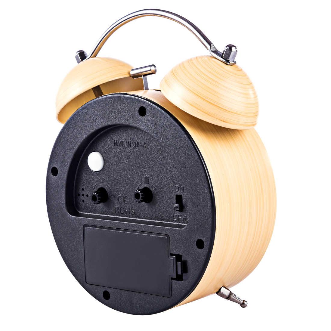 Имитация дерева зерна металлическое кольцо отключение сигнала часы, настольные часы с светодиодный ночник для домашнего декора кварцевые настольные часы Современный таймер