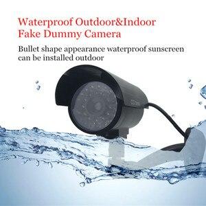 Image 2 - 4 قطعة كاميرا وهمية مقاوم للماء وهمية في الهواء الطلق داخلي رصاصة الأمن CCTV كاميرا مراقبة وامض الأحمر LED شحن مجاني
