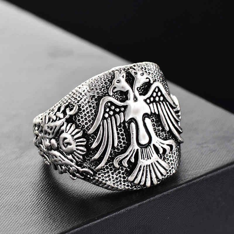 Ranzwal Vintage Double-headed Eagle แหวนสัญลักษณ์รัสเซียแหวน US ขนาด 6 ~ 9