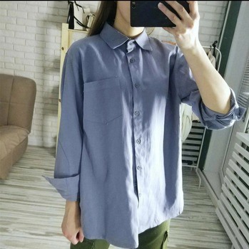 ZHISILAO Chic Solid Shirts Long Sleeve Cotton Linen Blouse Plus Size Shirts Oversize White Blouse Maxi Boyfriends Chemisier 5