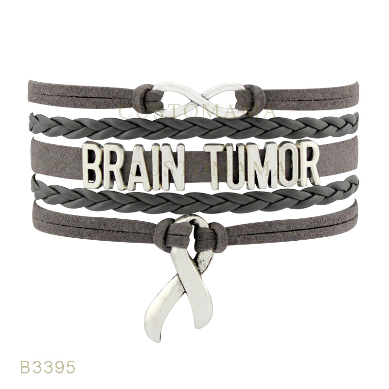 10 Pcs Lot Infinity Love Brain Tumor Cancer Awareness Ribbon Charm Bracelets For Women Men Jewelry Gray Leather Wrap Bracelet In From