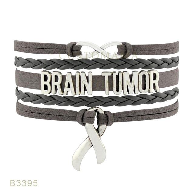 10 Pcs Lot Infinity Love Brain Tumor Cancer Awareness Ribbon Charm Bracelets For