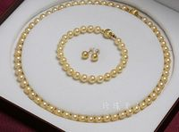 set of 10 11mmAAA south sea natural gold pearl necklace &bracelet &earring 14k/20