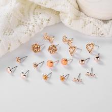 Bow Love Combination Stud Earring Set Alloy Zircon Nine Pairs One Card Earrings for Women Jewelry
