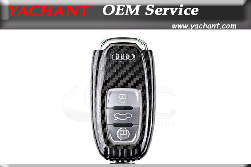 High Quality Good fitment Dry Carbon Fiber DCF Car Key Cover Fit For Audi A4L A6L