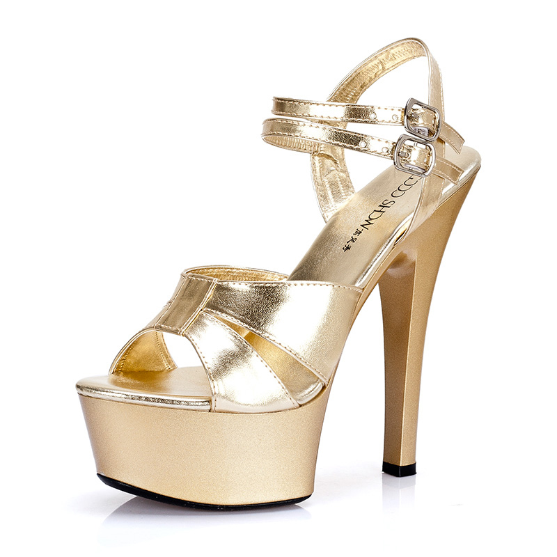 ФОТО Sexy Gold Sandals 15CM High Heel Shoes Model Perfomrance Platform Pumps Bridal Wedding Shoes Pole Dancer Shoes Plus Size44