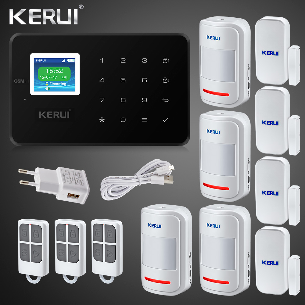 Signalizare cu lumina Kerui G18 GSM Alarm System TFT Android IOS APP Touch keypad Android ISO App Smart Home Burglar Alarm System DIY Motion Sensor