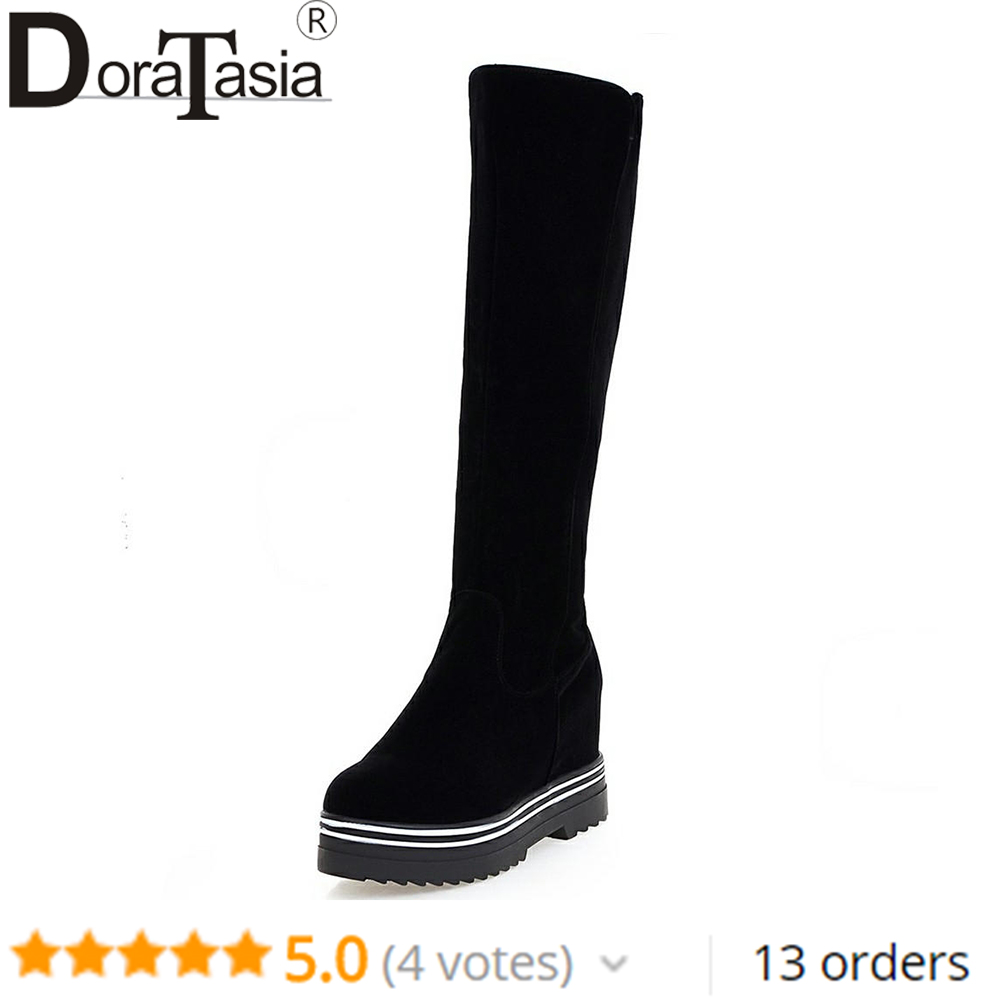 DORATASIA Brand Girl Zipper Platform Boots Ladies Elegant Height Increasing Knee High Boots Women 2019 High Heels Shoes Woman in Knee High Boots from Shoes