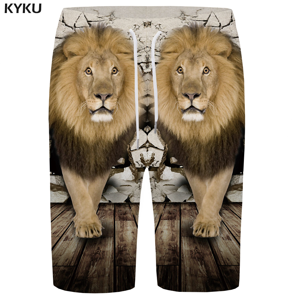 KYKU Lion Board Shorts Men Animal Beach Shorts Wall 3d Printed Short Pants Retro Casual Mens Shorts Fashion Summer New
