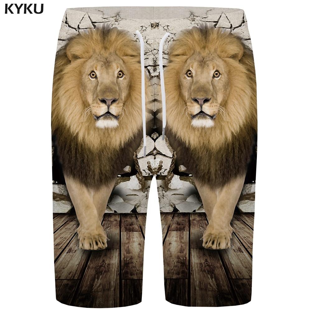KYKU Lion Board Shorts Men Animal Beach Shorts Wall 3d Printed Short Pants Retro Casual Mens Shorts Fashion Summer New