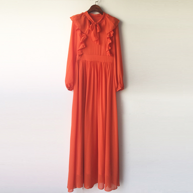 HIGH QUALITY New 2018 Fashion Russian Women's Elegant Long Lantern Sleeve Sexy V Neck Full Orange Party Maxi Long Dress
