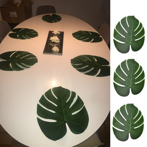 12pcs Artificial Green Leaf Monstera Palm Leaves for Hawaii Luau Party Decorations Wedding Table Decoration Plants Flower Leaves(China)