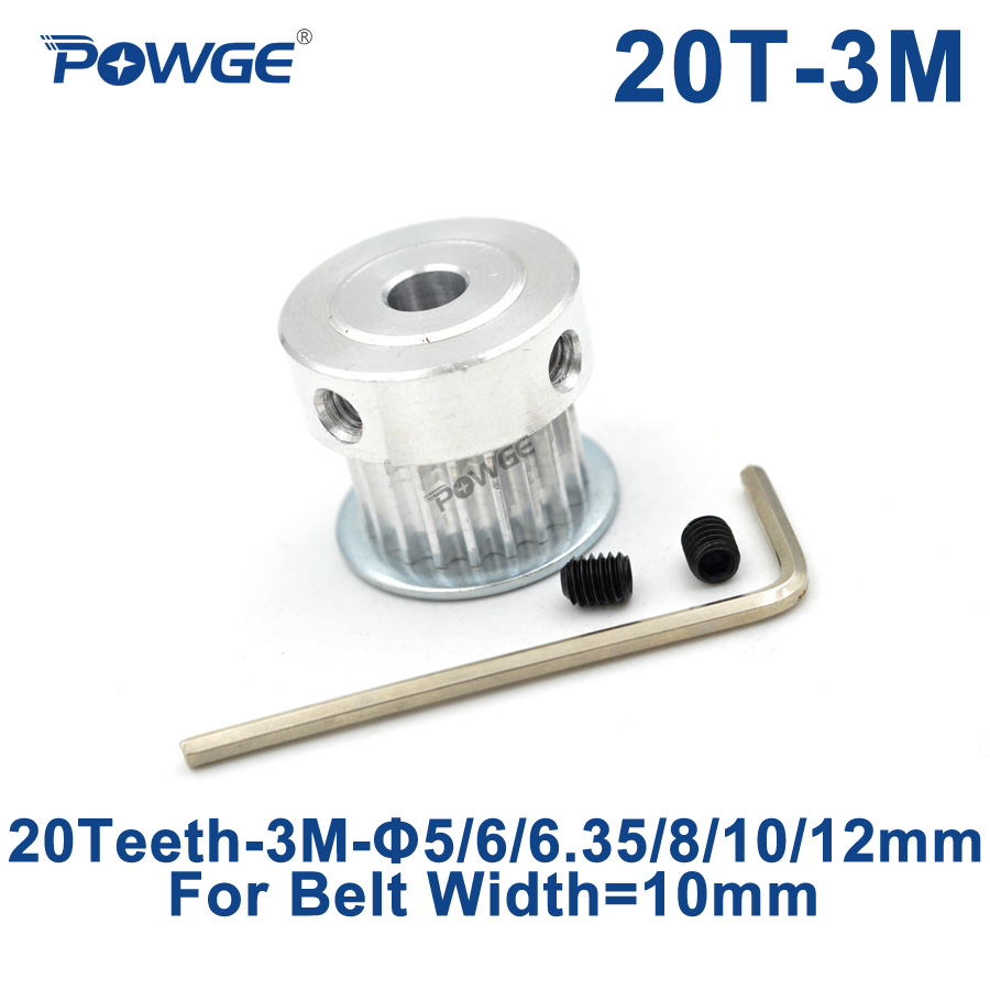 POWGE 20 Teeth 3M Synchronous Pulley Bore 5/6/6.35/8/10/12mm for Width 10mm HTD 3M Timing belt HTD3M pulley gear 20Teeth 20TPOWGE 20 Teeth 3M Synchronous Pulley Bore 5/6/6.35/8/10/12mm for Width 10mm HTD 3M Timing belt HTD3M pulley gear 20Teeth 20T