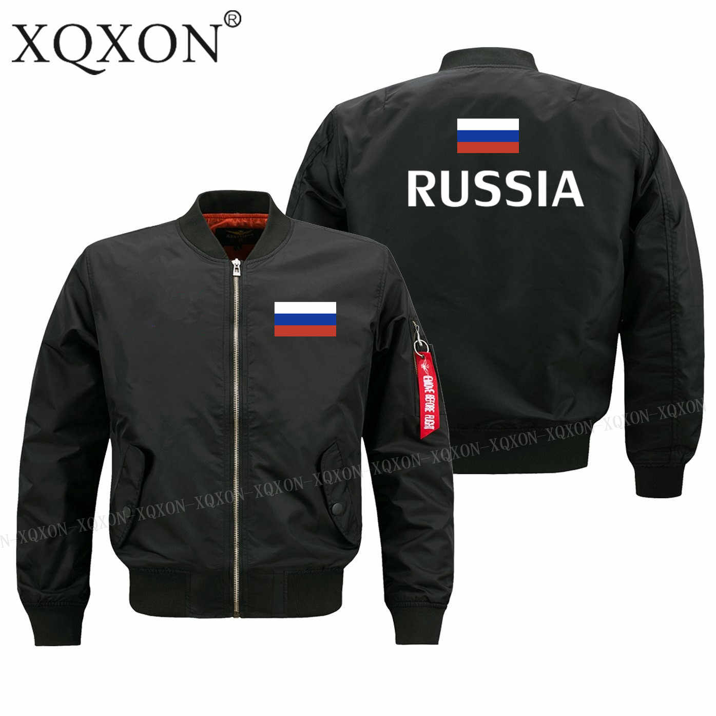 XQXON-2018 nuevos hombres chaqueta Rusia bandera impreso militar piloto Hombre  Abrigos chaquetas J164 1a882c71cff