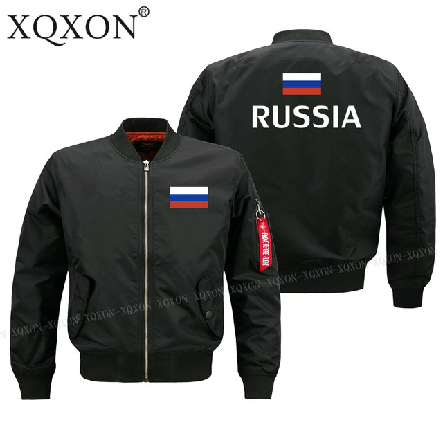 XQXON-2018 new men JACKET Russia flag printed Military pilot man Coats Jackets J164