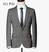 Spring small suit male jacket four seasons British business youth jacket long-sleeved large lattice Slim tide men's suit