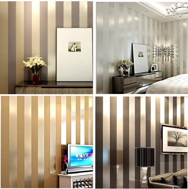 Non woven black white silver gold glitter striped for Gold wallpaper living room