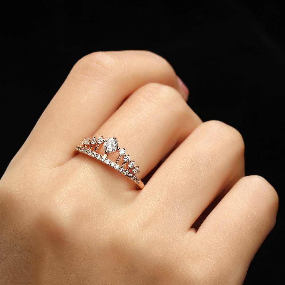 rings gems pure rose gold ring jewels white engagement product graduated cut princess