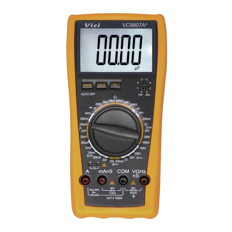 VICI VC9807A+ Digital Multimeter multimetro AC DC Ammeter Voltmeter Ohmmeter conductivity Capacitance Frequency tester victor vc9807a 4 1 2 ac dc resistance digital multimeters ammeter voltmeter ohmmeter conductivity capacitance frequency tester