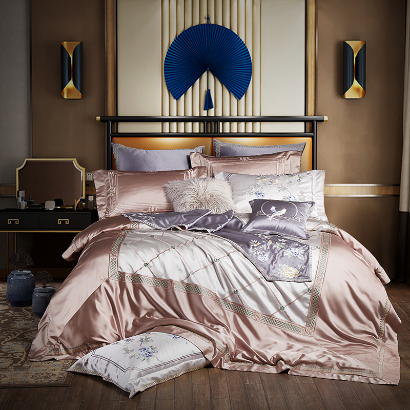 Di lusso Del Ricamo di Seta set di Biancheria Da Letto Grigio Re Queen formato Letto Copertura set lenzuolo copripiumino juego de cama linge de lit
