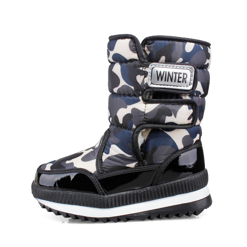 Kids Non-Slip Thick Bottom Snow Boots Boys Camouflage Flat Soft Sole Mid Calf Boots Girls Winter Warm Fur Shoes AA60223 snow toddler fur warm boots soft mid calf kids booties waterproof baby winter pink shoes little girls boys infant boot kt902