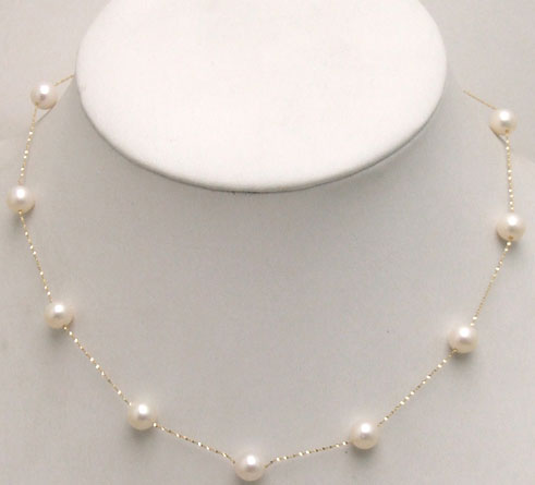 Geniue gold Chain Floating AAA Round 6-7mm white Natural Freshwater pearl 18 necklace with Gold Clasp-5398Geniue gold Chain Floating AAA Round 6-7mm white Natural Freshwater pearl 18 necklace with Gold Clasp-5398