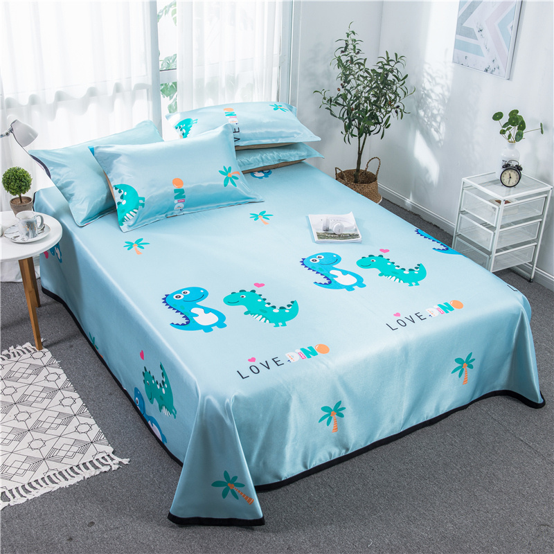 Cartoon Dinosaur Mattress Protector Cover Washable Bed Topper Sheet Children Adult Ice Silk Soft Summer Sleeping