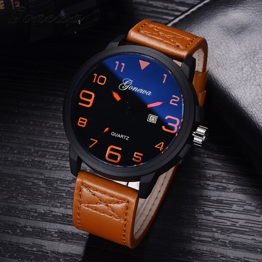 Gonewa Men Watches Top Brand Luxury Leather Strap Watch Sport Quartz Wristwatch Waterproof Military Clock Fashion Relogio GON009 2017 ochstin luxury watch men top brand military quartz wrist male leather sport watches women men s clock fashion wristwatch