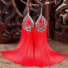 Yesucan Vintage Bohemia Bead Drop Earrings Women Ethnic  Irregular Big Circle Silky Long Tassel Dangle Earring for Wedding Party