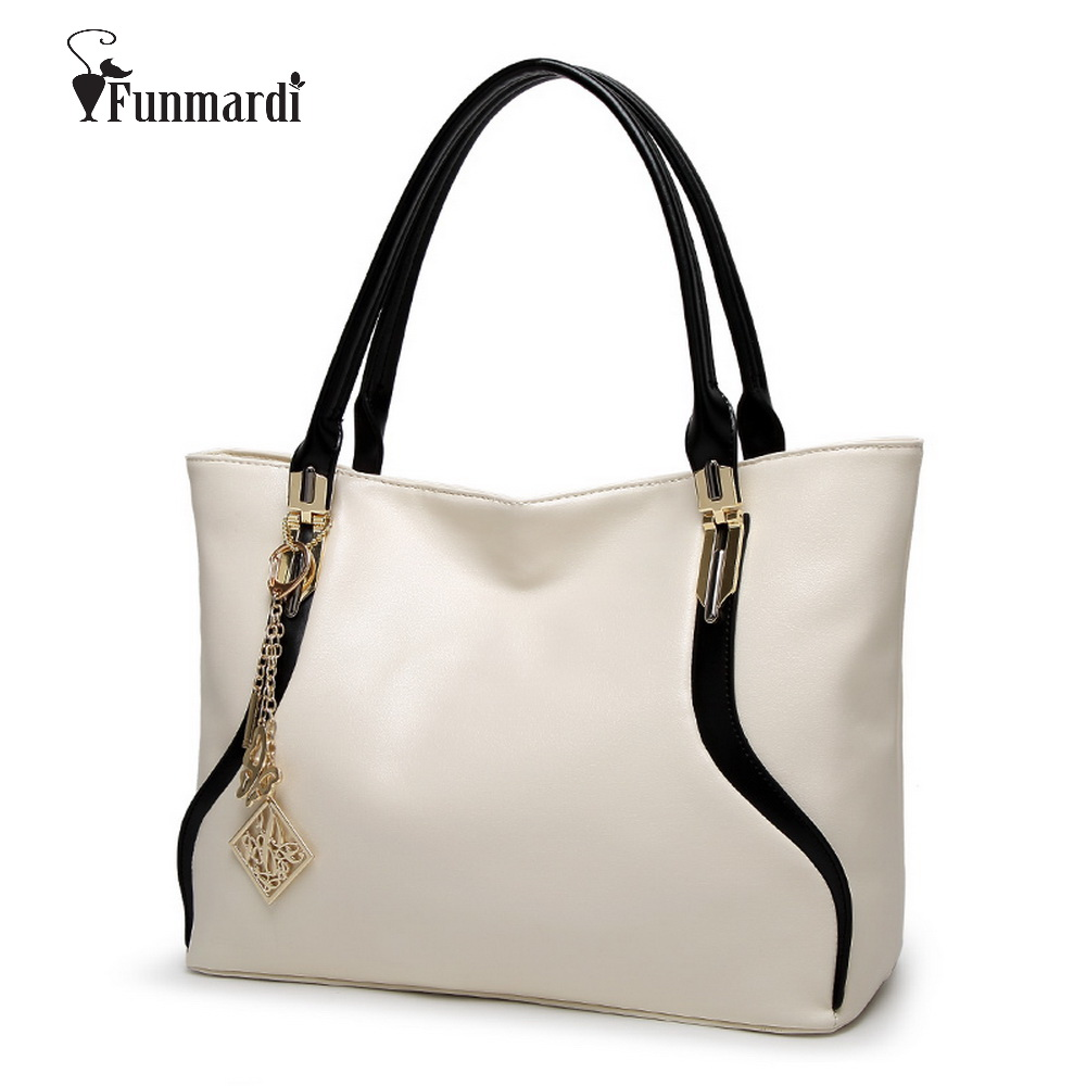 FUNMARDI New Fashion simple design PU leather handbags Luxury leather women bags brand design ladies shoulder bag WLHB1495