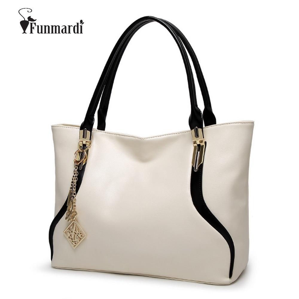 FUNMARDI New Fashion design simple sacs à main en cuir PU Luxe en cuir femmes sacs marque conception épaule sac WLHB1495