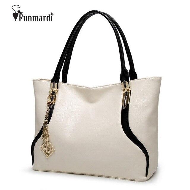 c1d1fe6113de FUNMARDI New Fashion simple design PU leather handbags Luxury leather women  bags brand design ladies shoulder bag WLHB1495