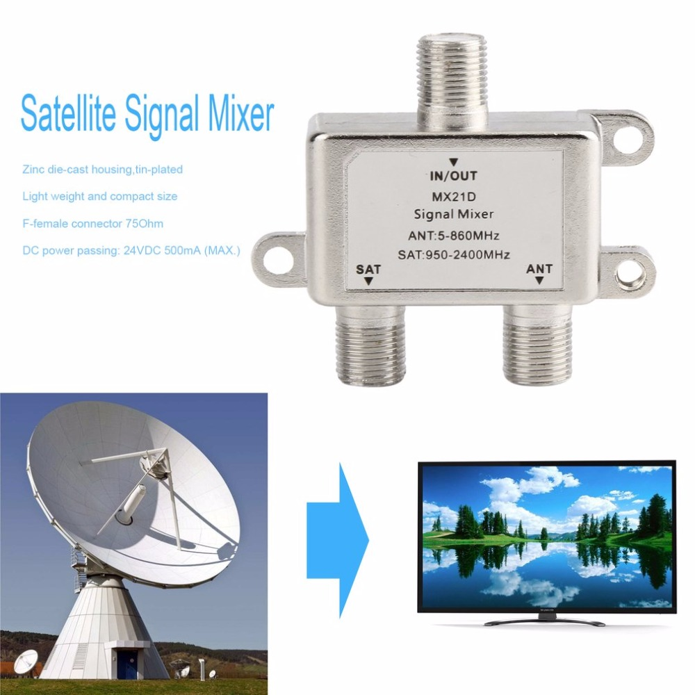 2 In 1 2 Way Satellite Splitter TV Signal Cable TV Signal Mixer SAT/ANT Diplexer Lightweight & Compact