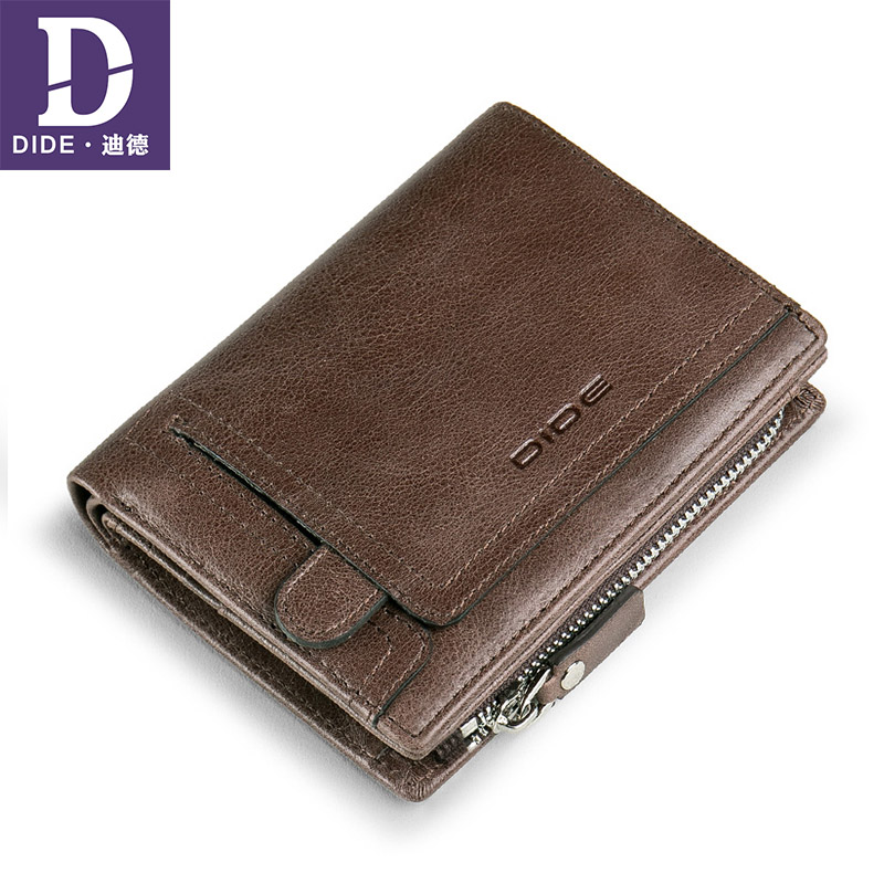 DIDE Mens Wallets 100%Genuine-Leather Purses Hasp-Design Zipper-Coin Vintage with Male