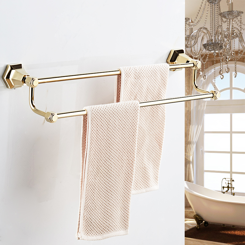 Double towel bars Black Color Wall Mounted Towel Holder in Towel Racks Towel Hanger Bathroom Accessories Bath hardware 93011 monite k5140 wall mounted bathroom goden finish towel shelf folding bath towel holder