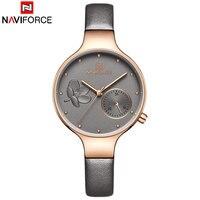 NAVIFORCE женские часы Мода кварцевые часы для девушки пояса из натуральной кожи ремешок 24 часа дата повседневное наручные подарок для девочек