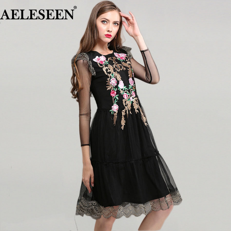 Vintage Mesh Knee Length Women Dresses Summer 2018 Fashion Full Sleeve Rose Embroidery H ...