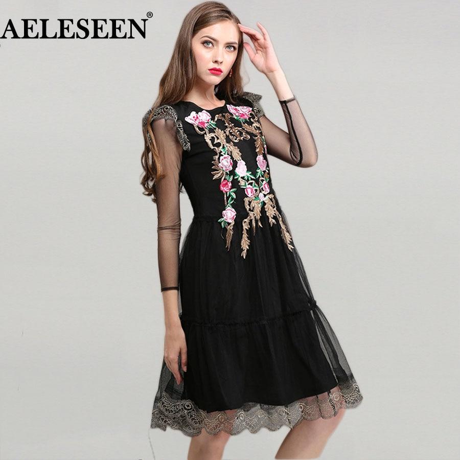 Vintage Mesh Knee Length Women Dresses Summer 2018 Fashion Full Sleeve Rose Embroidery High Quality Slim Black Runway Dress