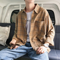 2018 Spring And Autumn Youth Fashion Trend Japanese Wild Joker Style Boys Models Casual Cool Handsome Plaid Shirt Jacket