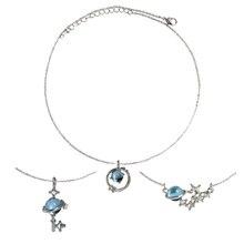 SANSUMMER New Style Temperament Cosmic Aurora Planet Small Fresh Blue Glass Fantasy Necklace Year Gift 6336