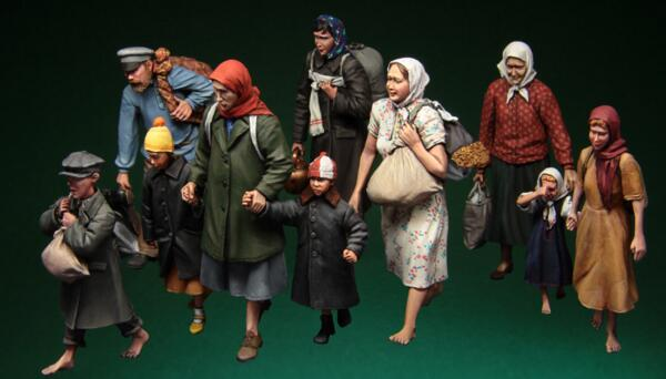 1/35 Resin Figures WWII Refugee Civilian Big Set 10pcs/set Model Kits