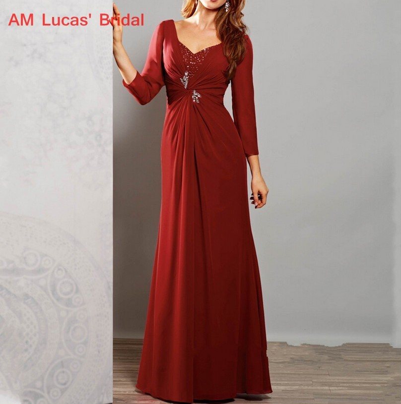 US $149.0 |Mother of The Bride Dresses With Sleeves Plus Size Women Evening  Party Mother Bride Groom Formal Gowns Wedding Bride Dress-in Mother of the  ...