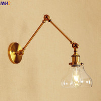 IWHD Golden Long Arm Wall Lights Fixtures Glass Bedroom Vintage Wall Lamp LED Edison Loft Style Industrial Luminaire Lighting