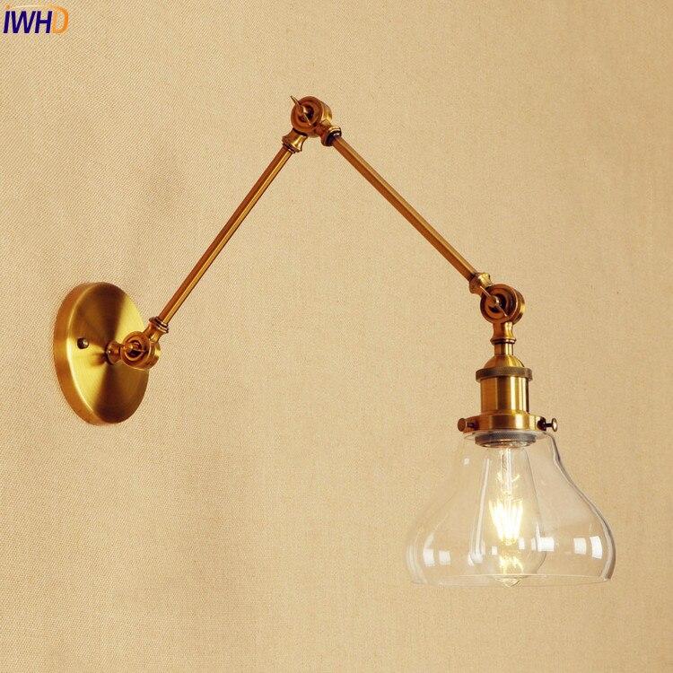 IWHD doré Long bras appliques luminaires en verre chambre Vintage applique murale LED Edison Loft Style industriel Luminaire éclairage