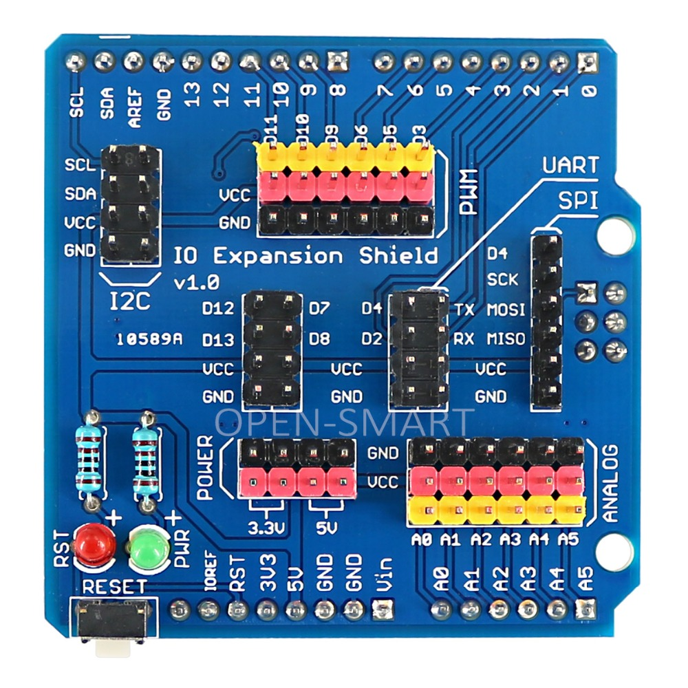 Sensor Shield IO Shield IO Board Base Shield Sensor Expansion Board Compatible con Arduino UNO / Leonardo / Mega2560