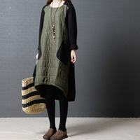 Winter New Dress Women Vintage Warm Patchwork Asymmetrical Long Sleeve O Neck Cotton Padded Long Dress