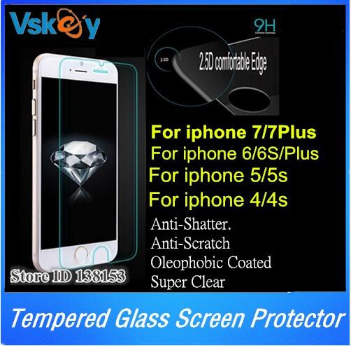 By DHL 100pcs 2.5D Tempered Glass For iPhone 7 plus Screen Protector For iPhone 6 6s Plus 5/5s 4/4s Glass Protective Film