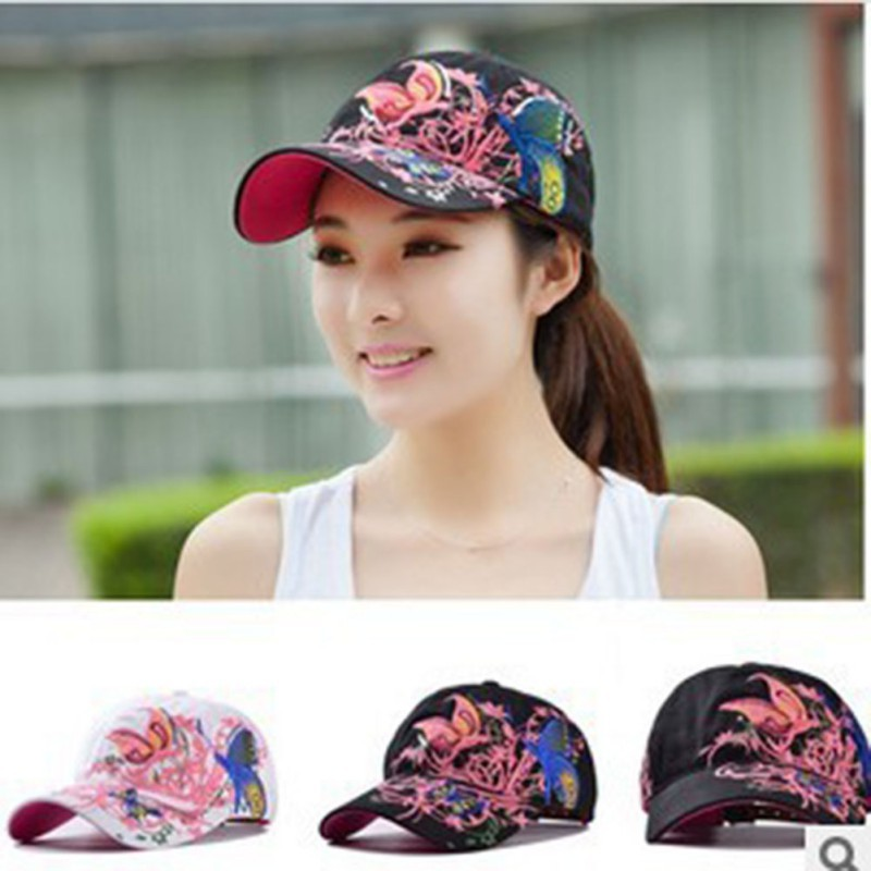 New Summer Adjustable Baseball Cap Women Lady Flowers Butterfly Embroidered Hat Wholesale 2017